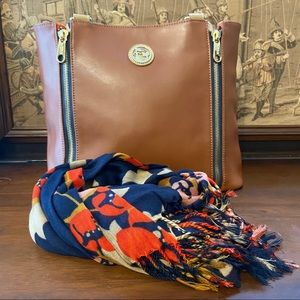 SPARTINA Leather & Linen Tote w/ Scarf